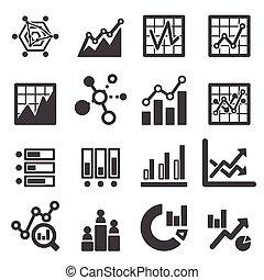 analytics, conjunto, icono