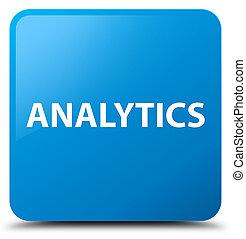 Analytics cyan blue square button