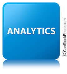 Analytics cyan blue square button
