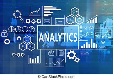 analytics, dans, concept affaires