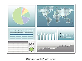 Analytics dashboard template with pie chart, world map, line...