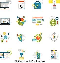 analytics, data, plat, iconen
