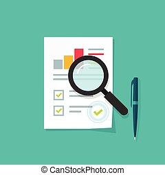 Analytics data research icon vector, analysis paper sheet document statistics