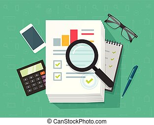 Analytics data research vector, analysis on big pile of paper sheet documents via magnifier, statistics result, growth graph chart analyze, analyzing, audit verification process, report check, desk