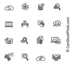 analytics, databank, black , iconen