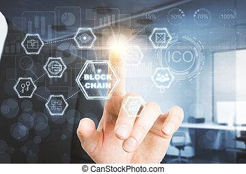 analytics, e, blockchain, conceito