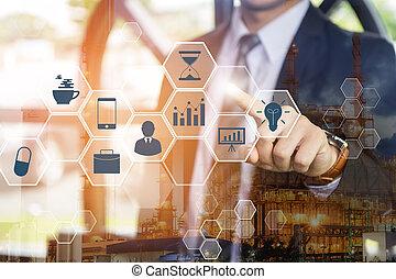 analytics, ekran, technologia, (bi), groźny, interfejs, cyfrowy, podwójny, biznesmen, handlowy, faktyczny, exposure., concept., tło., cielna, inteligencja, 4.0, ikony, dane