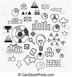 analytics, elementy, postęp, doodle, finanse, handlowy, ...