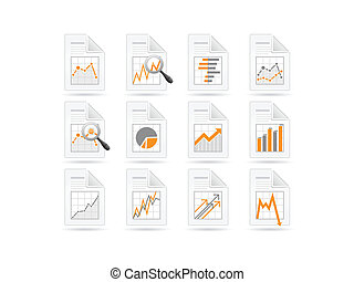 analytics, estatísticas, arquivo, ícones
