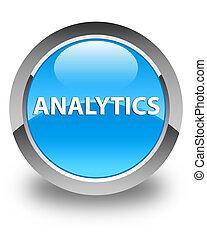 Analytics glossy cyan blue round button