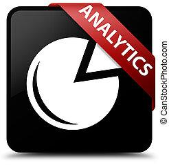 Analytics (graph icon) black square button red ribbon in corner