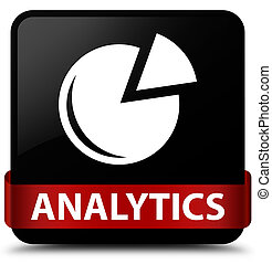 Analytics (graph icon) black square button red ribbon in middle