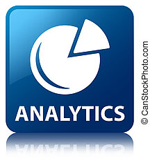 Analytics (graph icon) blue square button