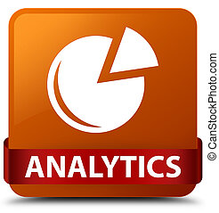 Analytics (graph icon) brown square button red ribbon in middle