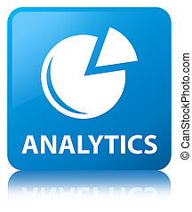 Analytics (graph icon) cyan blue square button