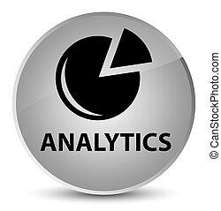 Analytics (graph icon) elegant white round button