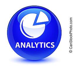 Analytics (graph icon) glassy blue round button