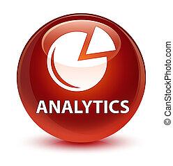 Analytics (graph icon) glassy brown round button