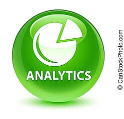 Analytics (graph icon) glassy green round button