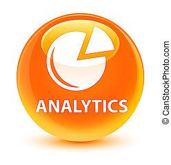 Analytics (graph icon) glassy orange round button