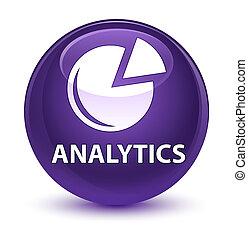 Analytics (graph icon) glassy purple round button