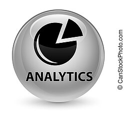 Analytics (graph icon) glassy white round button