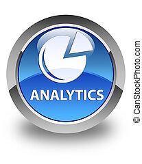 Analytics (graph icon) glossy blue round button