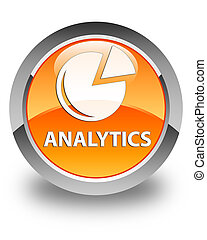 Analytics (graph icon) glossy orange round button
