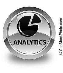 Analytics (graph icon) glossy white round button