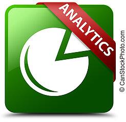 Analytics (graph icon) green square button red ribbon in corner