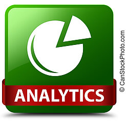 Analytics (graph icon) green square button red ribbon in middle