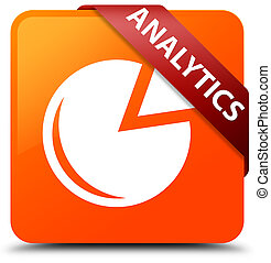 Analytics (graph icon) orange square button red ribbon in corner