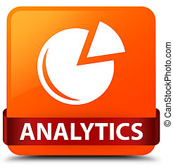 Analytics (graph icon) orange square button red ribbon in middle