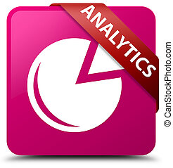 Analytics (graph icon) pink square button red ribbon in corner