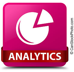 Analytics (graph icon) pink square button red ribbon in middle