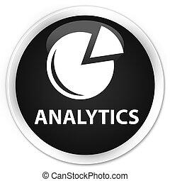 Analytics (graph icon) premium black round button