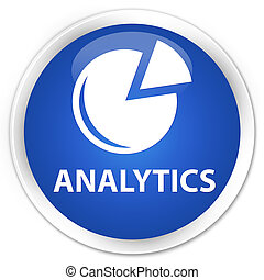 Analytics (graph icon) premium blue round button