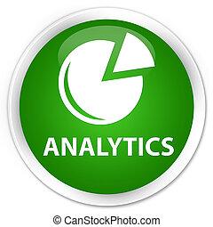 Analytics (graph icon) premium green round button