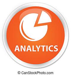Analytics (graph icon) premium orange round button