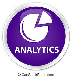 Analytics (graph icon) premium purple round button