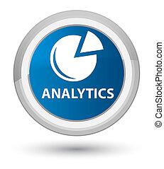 Analytics (graph icon) prime blue round button