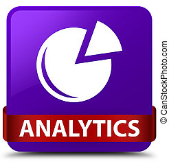 Analytics (graph icon) purple square button red ribbon in middle