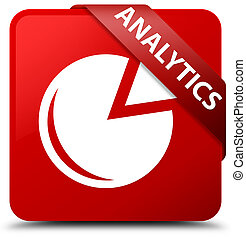 Analytics (graph icon) red square button red ribbon in corner