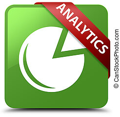Analytics (graph icon) soft green square button red ribbon in corner
