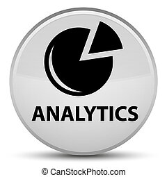 Analytics (graph icon) special white round button