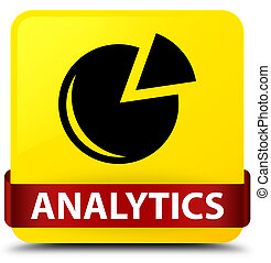 Analytics (graph icon) yellow square button red ribbon in middle