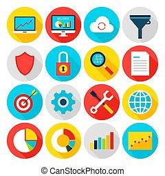 analytics, groot, data, plat, iconen