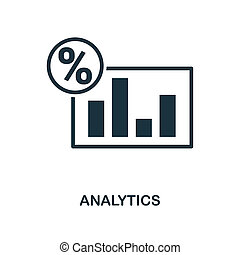 Analytics icon. Monochrome style design from business icon collection. UI. Pixel perfect simple pictogram analytics icon. Web design, apps, software, print usage.
