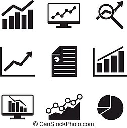 Analytics icon set on flat style.