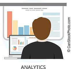 analytics, icona, appartamento, disegno, concetto